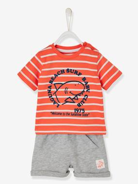 Vertbaudet Sale-Baby-Baby Boys' Striped Top & Shorts Outfit, Shark Motif