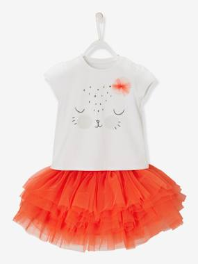 Collection cérémonie-Ensemble bébé fille T-shirt et jupon