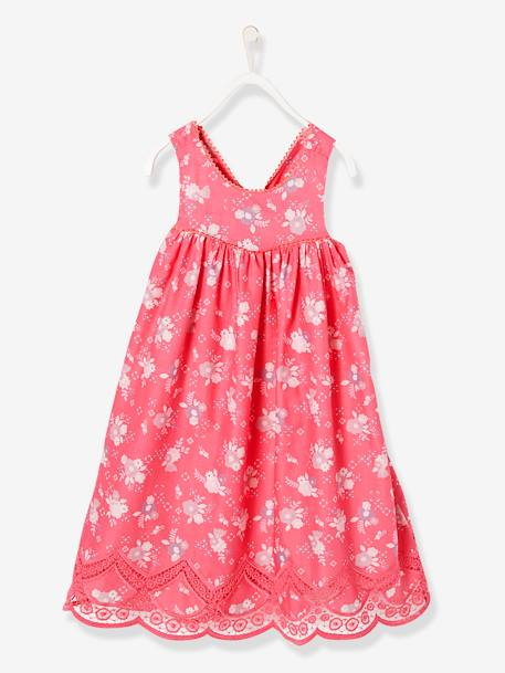 Girls Printed Occasion Dress PINK BRIGHT ALL OVER PRINTED+WHITE LIGHT ALL OVER PRINTED+YELLOW MEDIUM ALL OVER PRINTED - vertbaudet enfant
