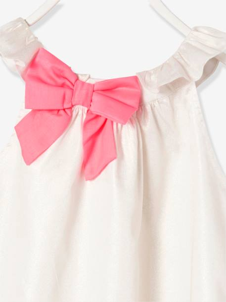 Girls' Dress with Decorative Bow WHITE LIGHT SOLID - vertbaudet enfant