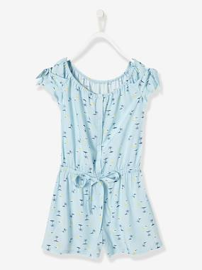 Girls-Dungarees & Playsuits-Girls' Playsuit with Palm Tree Print