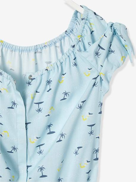 Girls' Playsuit with Palm Tree Print BLUE LIGHT ALL OVER PRINTED - vertbaudet enfant