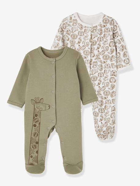 Babies' Pack of 2 Fleece Pyjamas, Press-studs on the Back BEIGE MEDIUM TWO COLORS/MULTIC - vertbaudet enfant