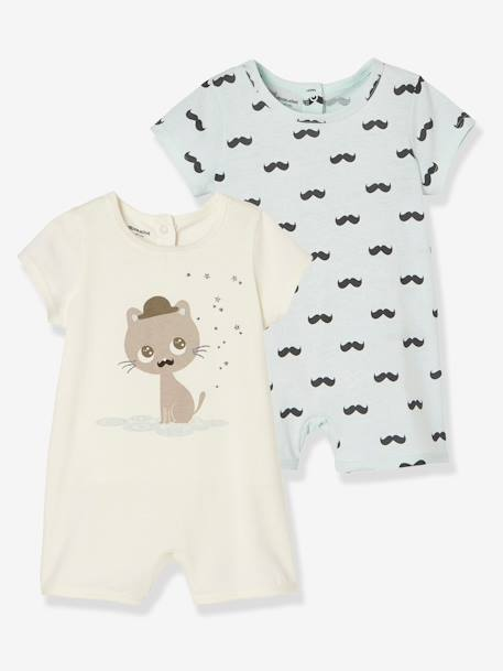 Babies' Pack of 2 Short Pyjamas, Cotton BLUE LIGHT TWO COLOR/MULTICOL+WHITE LIGHT TWO COLOR/MULTICOL - vertbaudet enfant