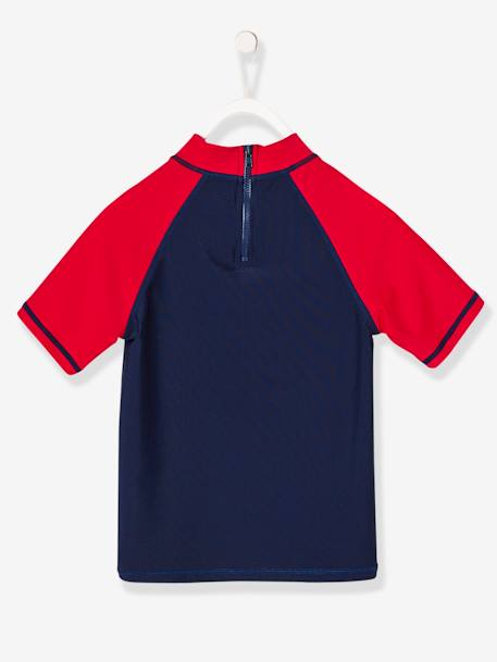 Boys' Anti-UV T-shirt BLUE DARK SOLID WITH DESIGN - vertbaudet enfant