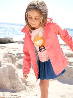 Vertbaudet Collection-Girls' Water-Repellent Trenchcoat with Detachable Hood