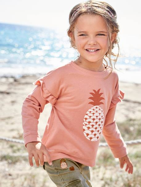 Sweat fille à volants Rose blush - vertbaudet enfant