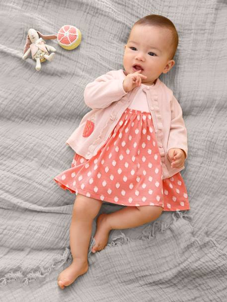 Dress with Strawberry Motif for Newborn Babies PINK LIGHT ALL OVER PRINTED - vertbaudet enfant