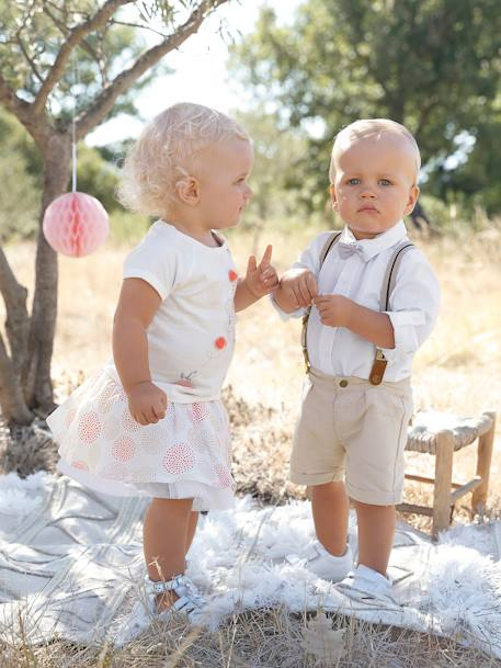 Baby Boys' Outfit: Shirt + Bermuda Shorts with Braces + Bow Tie WHITE LIGHT SOLID - vertbaudet enfant