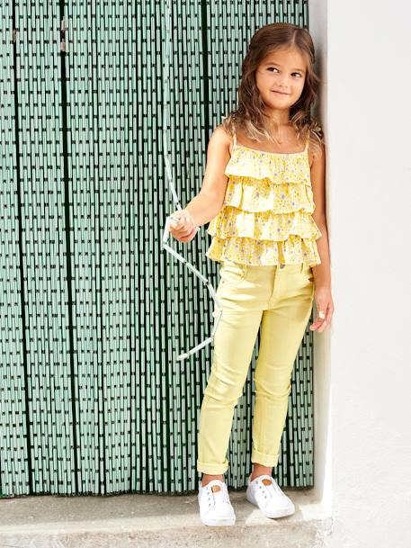 NARROW Fit - Girls' Slim Fit Trousers PURPLE DARK SOLID+WHITE LIGHT ALL OVER PRINTED+YELLOW LIGHT SOLID - vertbaudet enfant