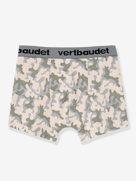 Boys' Pack of 3 Stretch Boxer Shorts BLUE MEDIUM TWO COLOR/MULTICOL+WHITE LIGHT TWO COLOR/MULTICOL - vertbaudet enfant