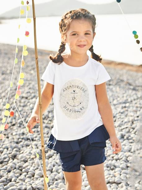 Girls' Shorts with Frill BLUE DARK SOLID - vertbaudet enfant