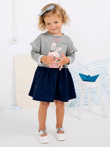 Girls' Dual Fabric Dress, Fleece and Twill GREY LIGHT MIXED COLOR - vertbaudet enfant