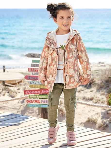 Girls' Hooded Parka BEIGE LIGHT ALL OVER PRINTED+GREEN DARK SOLID - vertbaudet enfant