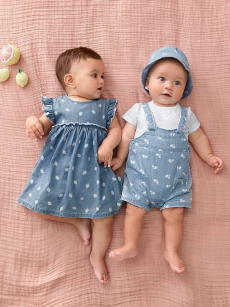 Baby Girls' Outfit: Dress with Strawberries & Shorts BLUE LIGHT WASCHED - vertbaudet enfant