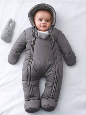 Baby clothing 0-18 months, newborn boy clothing, baby boy fashion clothes - Vertbaudet-Baby-Convertible Baby Snowsuit