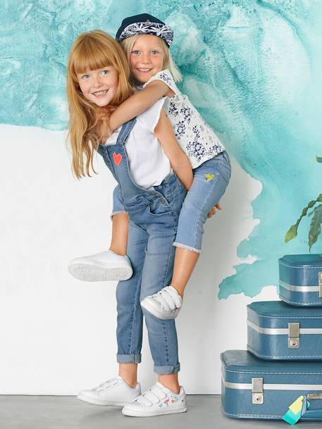 Girls' 7/8 Slim Fit Jeans with Patches BLUE MEDIUM WASCHED - vertbaudet enfant