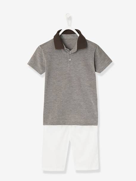 Boys' Polo Shirt and Bermuda Shorts Outfit BLUE DARK SOLID+GREY LIGHT SOLID - vertbaudet enfant
