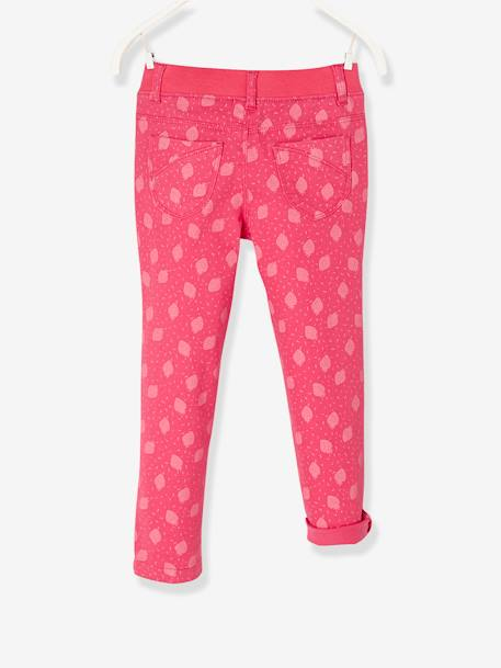LARGE Fit, Girls' Slim Fit Trousers GREEN LIGHT SOLID+RED LIGHT ALL OVER PRINTED - vertbaudet enfant