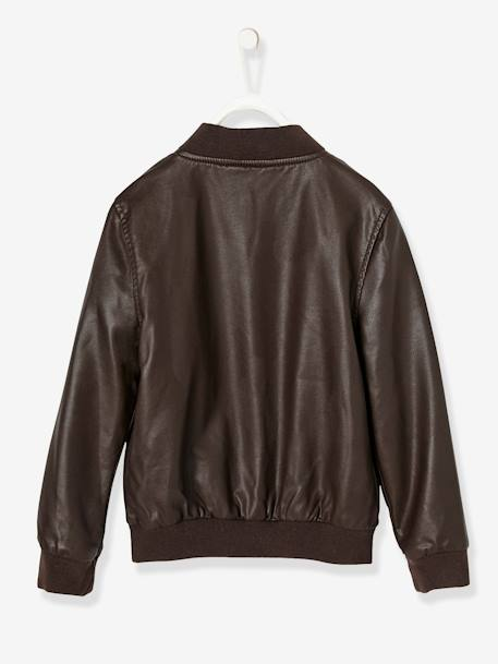 Boys' Faux Leather Jacket BROWN DARK SOLID WITH DESIGN - vertbaudet enfant