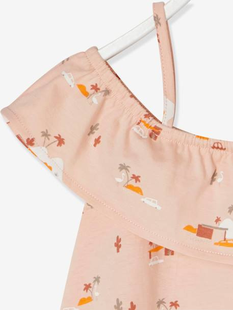 Girls' Top with Frills PINK LIGHT ALL OVER PRINTED - vertbaudet enfant