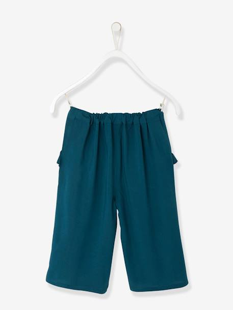 Girls' Loose-fitting, Straight Cut, Cropped Trousers BLUE MEDIUM SOLID - vertbaudet enfant