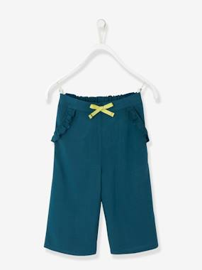 Girls-Trousers-Girls' Loose-fitting, Straight Cut, Cropped Trousers