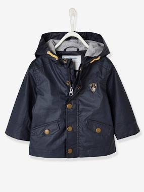 New collection-Baby Boys' Coated Raincoat with Hood