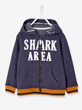 navy shark boy-Boys' Jacket with Zip and Hood