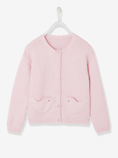 Girls' Knit Cardigan PINK LIGHT SOLID+PURPLE MEDIUM SOLID - vertbaudet enfant