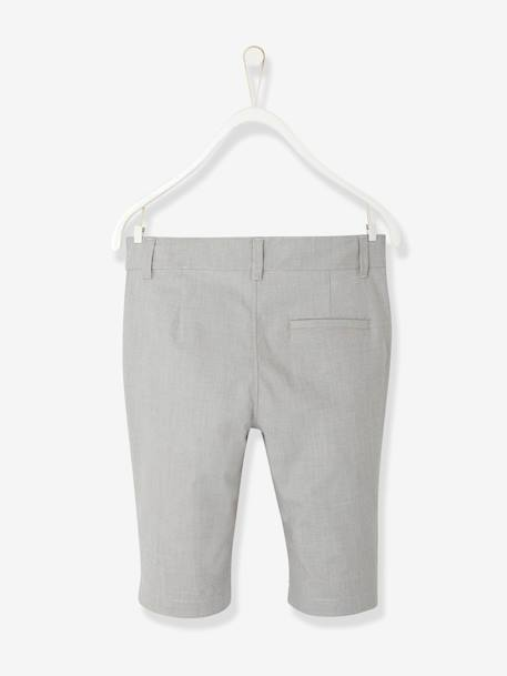 Boys' Cotton and Stretch Linen Chinos GREY MEDIUM SOLID - vertbaudet enfant