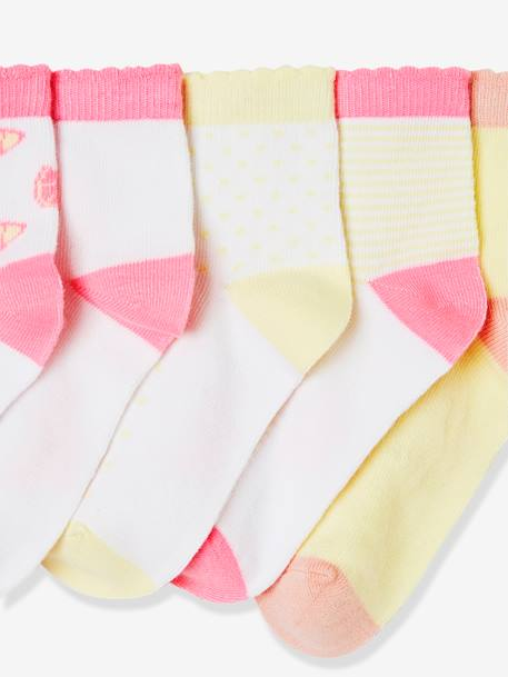 Girls' Pack of 5 Pairs of Trainer Socks GREEN MEDIUM 2 COLOR/MULTICOLR+YELLOW LIGHT 2 COLOR/MULTICOL - vertbaudet enfant