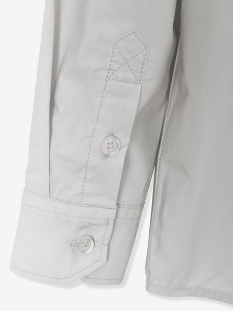 Boys' Poplin Shirt GREY LIGHT SOLID+WHITE LIGHT SOLID - vertbaudet enfant