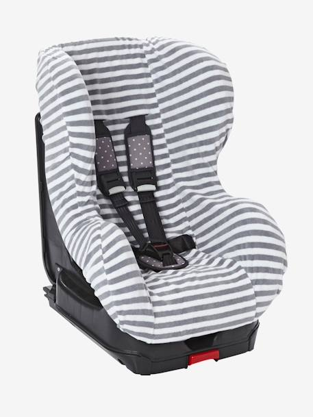 Elasticated Cover for Group 0+/1 Car Seat Grey/white striped+MEDIUM BLUE MARL - vertbaudet enfant