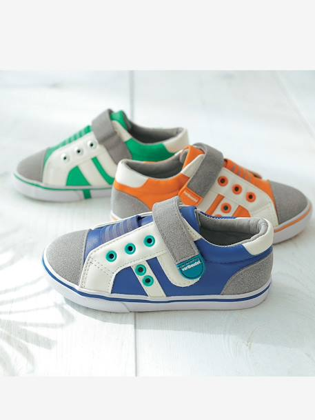 Boys' Leather Trainers, Designed for Autonomy Blue+Green - vertbaudet enfant
