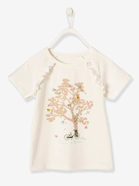 Girls-Tops-Girls' T-Shirt with Frill