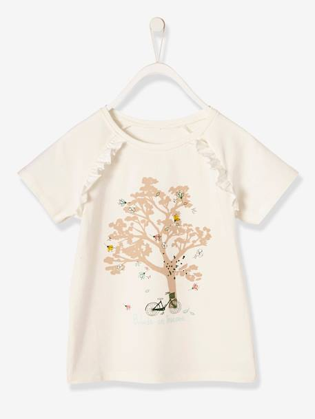 Girls' T-Shirt with Frill GREY MEDIUM SOLID WITH DESIGN+WHITE LIGHT SOLID WITH DESIGN - vertbaudet enfant