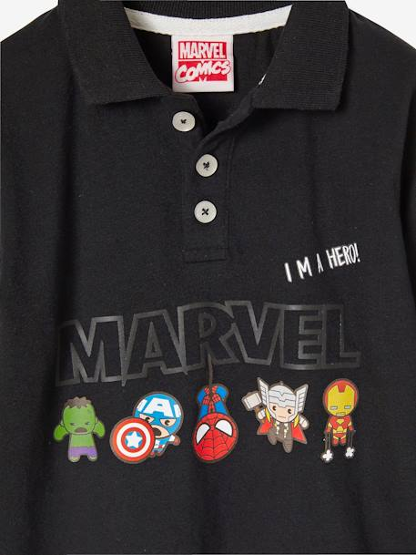 Boys' Long-Sleeved Polo Shirt, The Avengers® BLACK DARK SOLID - vertbaudet enfant