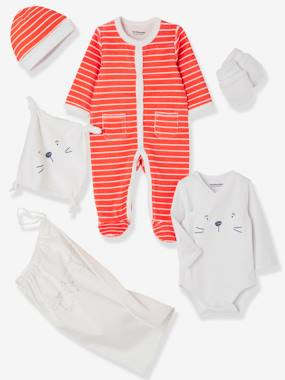 Baby-5-Piece Set for Newborns, Striped, with Cat and Bag