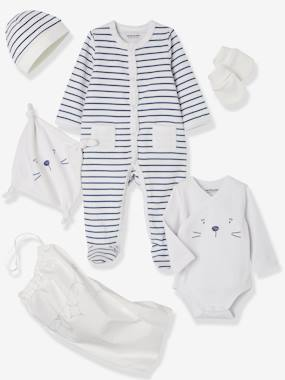 Vertbaudet Collection-5-Piece Set for Newborns, Striped, with Cat and Bag