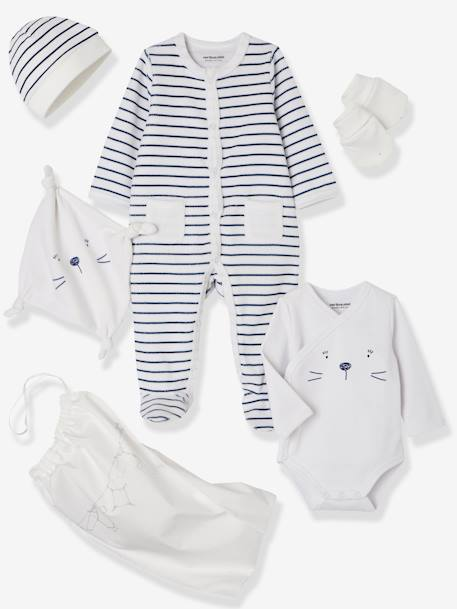 5-Piece Set for Newborns, Striped, with Cat and Bag ORANGE BRIGHT STRIPED+WHITE LIGHT STRIPED - vertbaudet enfant
