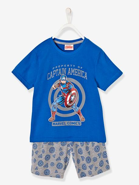 Boys' Printed Pyjamas with Shorts, The Avengers® BLUE MEDIUM ALL OVER PRINTED - vertbaudet enfant