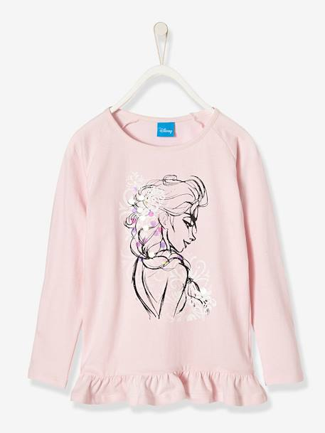 T-shirt fille Reine des neiges® à sequins Rose - vertbaudet enfant