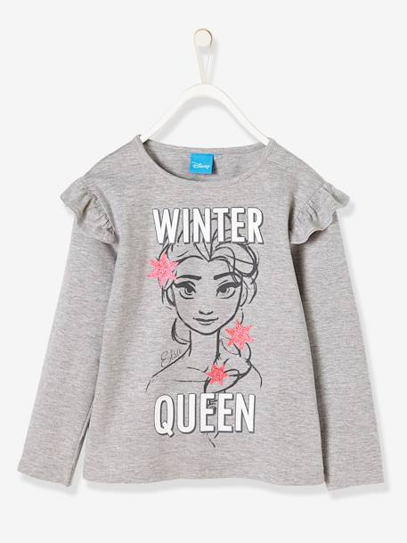 Girls' Frozen® Top GREY MEDIUM SOLID WITH DESIGN - vertbaudet enfant