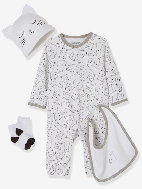 4-Piece Set for Newborn Babies WHITE LIGHT ALL OVER PRINTED - vertbaudet enfant