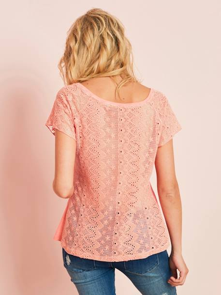 Maternity Top with Lace on the Back GREEN MEDIUM SOLID+PINK LIGHT SOLID+WHITE LIGHT SOLID - vertbaudet enfant