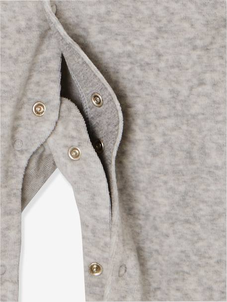 Babies' Velour Pyjamas, Organic Collection, with Decorative detail on the Back GREY LIGHT MIXED COLOR - vertbaudet enfant