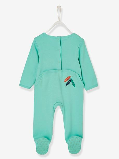 Babies' Cotton Pyjamas, Press-studs on the Back GREEN LIGHT SOLID WITH DESIGN - vertbaudet enfant
