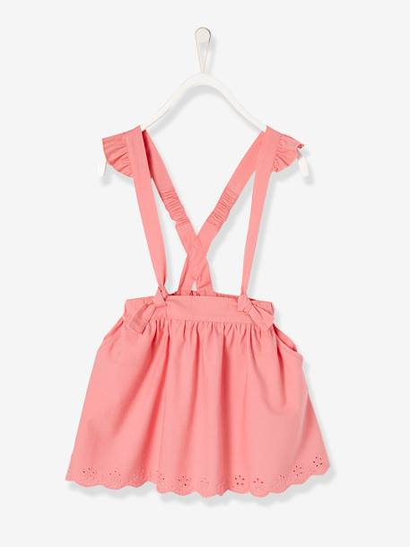 Girls' Short Skirt with Braces PINK LIGHT SOLID - vertbaudet enfant