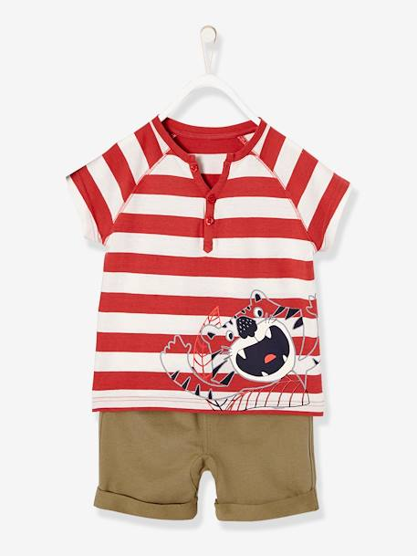 Boys' T-shirt + Bermuda Shorts Outfit RED MEDIUM STRIPED - vertbaudet enfant